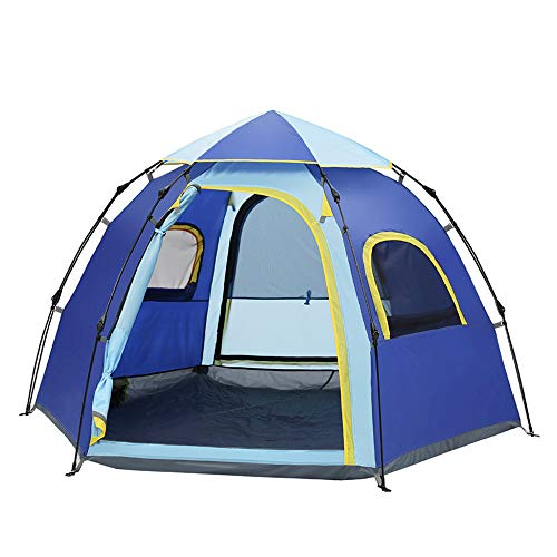 DLLzq Automatic Pop-up Tent,5-6 Person Outdoor Camping Hex Hydraulic Waterproof and UV Protection Breathable Tent,Blue