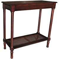 Urbanest Alexandria Side Table with Rattan Shelf, Cherry