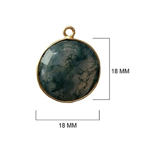(2 Pcs Natural Moss Agate Coin Beads 18mm 24K Gold Vermeil by BESTINBEADS, Natural Moss Agate Coin Pendant Bezel Gemstone Connectors Over 925 Sterling Silver Bezel Jewelry Making Supplies)