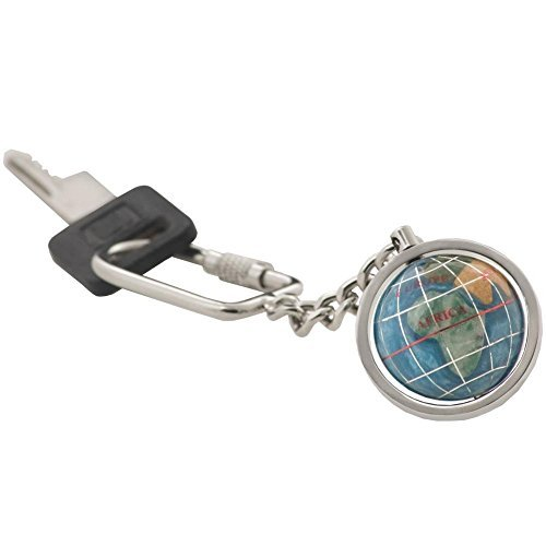 KALIFANO Gemstone Globe with Marine Blue Opalite Ocean showcased on a Bright Silver Keychain by Alexander Kalifano Blue Opalite Gemstone Globe
