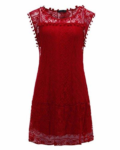 Donna Elegante Casual Sexy Bordeaux Moda Abito Senza Top shirt Sottile Vestito T Maniche Girocollo Corto Pizzo Styledome P1vdzqd