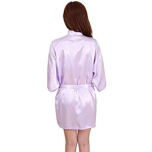 Viola Accappatoio Dressing Kimono Gown Adolescenti Partito Regalo Robe Nuziale Da Pigiami Donne Spa Notte Breve Vestaglie Nozze FY Bathrobe Camicie Sexy Babydoll vSWn15z
