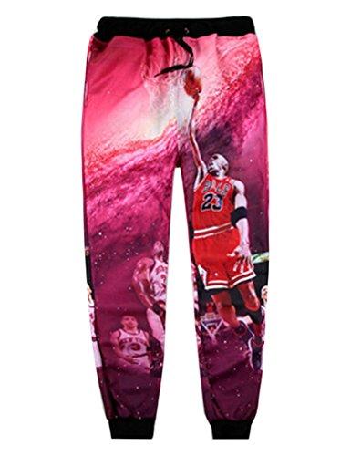 9a5c55c1fe2f1e Men s Harajuku Style Hip Hop Red Jordan Print 3D Joggers Sport Sweatpants XL