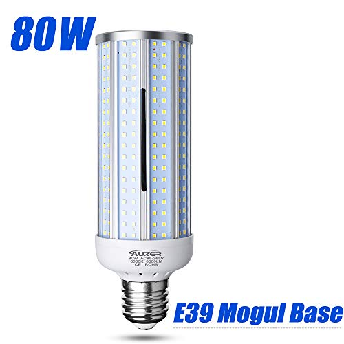 80W LED Corn Light Bulb, Large Mogul E39 Base, 8000-Lumen, 6500K Daylight Cool White, AC 85V-265V, LED Corn Bulb for Large Area Garage Factory Warehouse High Bay Barn Shopping Mall Supermarket ... Base Metal Halide Light Bulb
