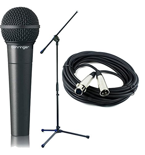 Behringer Dynamic Mic (Bundle Includes 3 Items - Behringer Ultravoice Xm8500 Dynamic Vocal Microphone, Cardioid and Samson MK-10 Microphone Boom Stand and CBI MLC20 Low Z XLR Microphone Cable, 20 Foot)