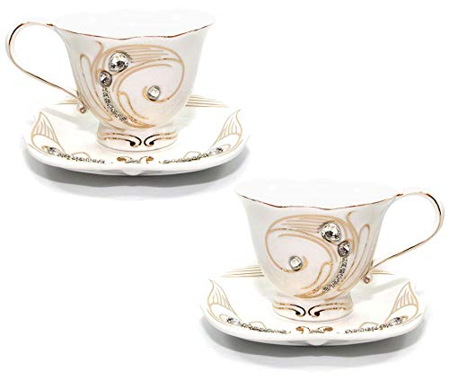 Saucer Gold 24k - 4-pc Coffee or Tea Set, 24K Gold Accents with Rhinestones, 7.5 Oz. Bone China Cups with 5.5
