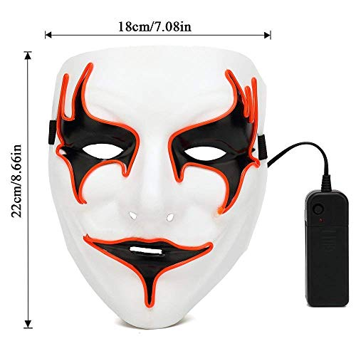 Tronet Halloween Neon Luminous Wire Glowing LED Mask Scary Ghost Skull Light Mask for Festival Party (White) -