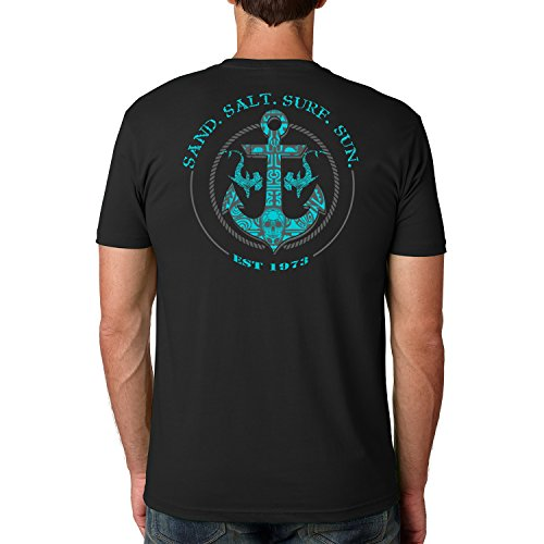 (SAND.SALT.SURF.SUN. Shark Anchor Cotton Crew Short Sleeve Shirt X-Large Black)