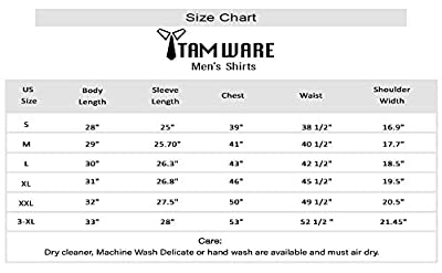 TAM WARE Men's Classic Slim Fit Contrast Inner Long Sleeve Dress Shirts
