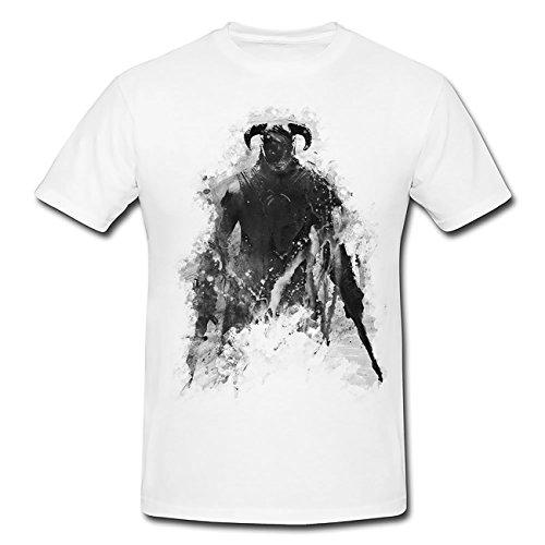 The Elder Scrolls V Skyrim T-Shirt Herren, weiß mit Aufdruck