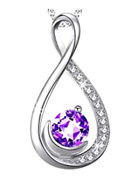 Natural Purple Amethyst Jewelry for Women Forever Love Infinity Half Moon Necklace for Her Sterling Silver