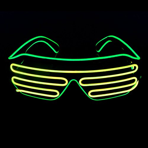 OPPSK Neon Glasses with Glow LED Shutter Shaped Light-Up Toys Glasses for Costume Show Black Lights Party Halloween Christmas (Battery Non-included) - (Light Show Halloween Costume)