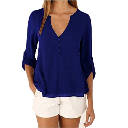 Plus Size Chiffon Blouse 3/4 Sleeve Loose Button Down Shirt for Women Size XXXL Blue (Fancy Dress Xxxl)
