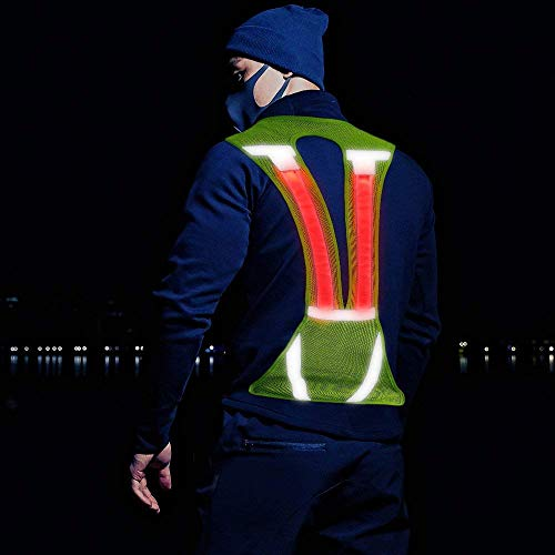 Illumifun Reflective Vest Running Gear, Light Up LED Safety Vest with Large Pocket, Adjustable High Visibility Gear for Night Running Jogging Cycling Motorcycle Walking(Green Vertical)]()