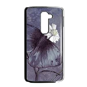 Flowers And Buterfly Graffity Black Phone Case for LG G2 Case