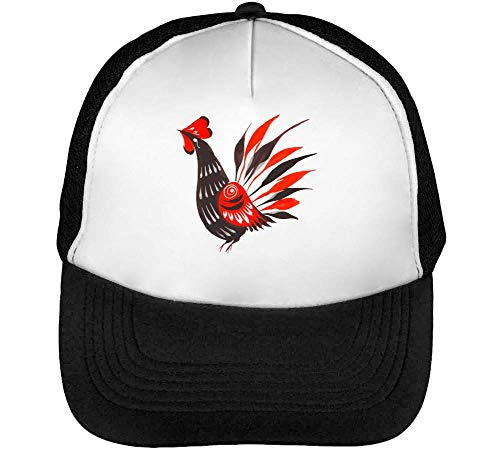 The Rooster Gorras Hombre Snapback Beisbol Negro Blanco