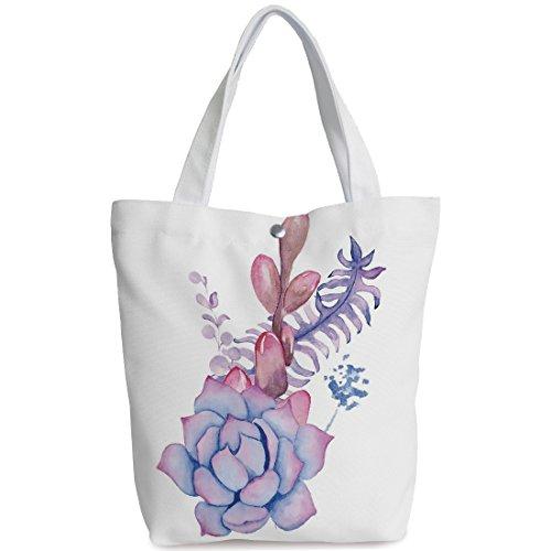 Personalized Canvas Tote Bag,Succulent,Exotic Corsage Wedding Bouquet Design Bohemian Retro Nature Watercolors Decorative,Lilac Pink Lavender,Canvas Shopping bag,shoulder handbags,Shoulder Bag (Pinks Corsage Purse)
