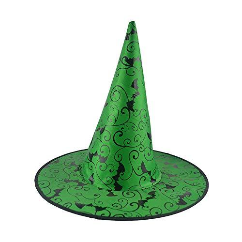 Jieson Halloween Bat Adult Womens Witch Hat (Green) ()