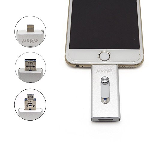 Tipmant High Capacity Cell Phone USB Flash Drive 64GB iOS OTG i-Flash Memory Stick for Computer, iPhone iPad and Android Smart Phone - Silver