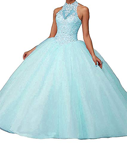 8c198061bc5b High Beads Appliques Quinceanera Dresses Women s Jurong Long Pageant Neck  Skyblue 6ZwI5E5q