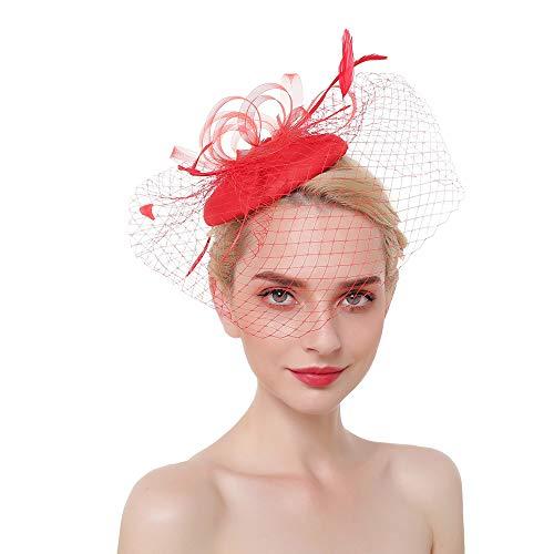 Vintage Fascinators Hat Mini Beret Tea Party Hair Clip Women Kentucky Derby Headwear Wedding Cocktail Headband Red