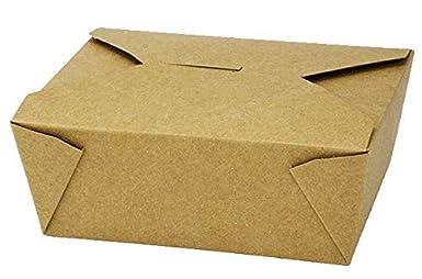 Contenedores de comida para llevar calientes y fr/íos Contenedores desechables de papel Kraft para llevar Dise/ño a prueba de fugas para el almuerzo en la carretera 200 x 140 x 45 mm paquete de 25