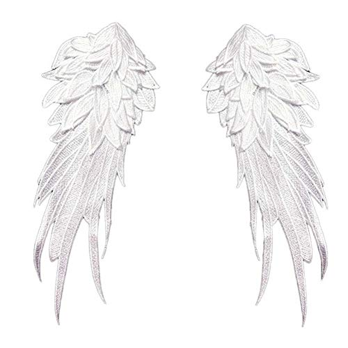 2 Pcs Wings Feather Patches Embroidered Fabric Large Patch Shoulder Applique Stick Sewing Patches for DIY Halloween Costume Clothes Bag Decoration (White) -