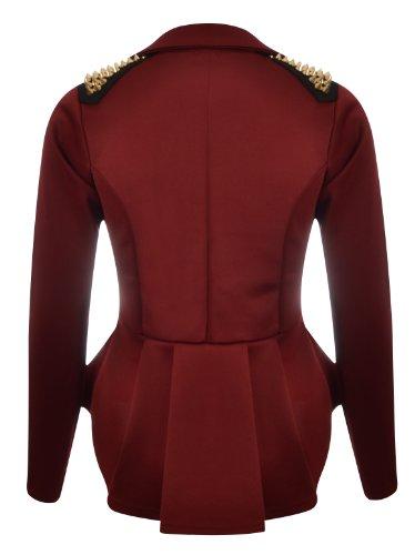 Veste dtail pliss Blazer long clous derrire Femme modle Bordeaux volants pplum qrqEg0Rw