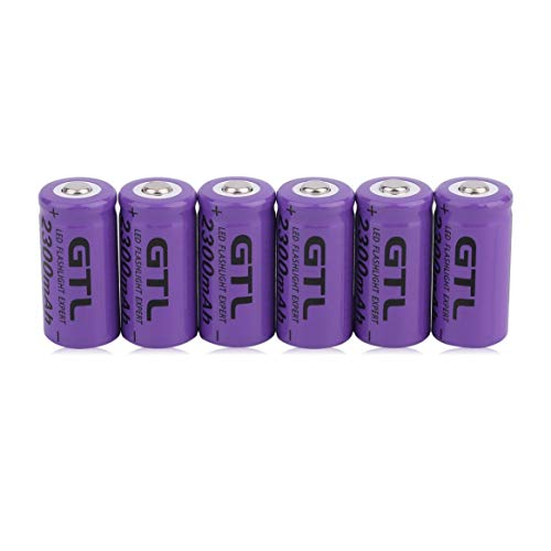 6 Pcs 3.7V CR123A 16340 2300mAh Purple Li-Ion Rechargeable Battery Cell Replacement for Flashlight Photo Camera ()