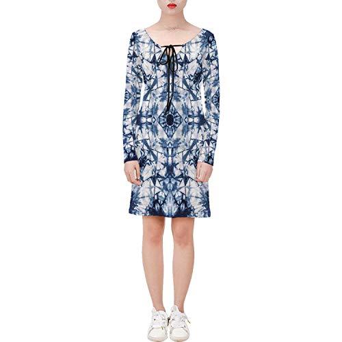 C COABALLA Tie Dye Decor Casual Long Sleeve String Tie Dress Old Fashion Kaleidoscope Loos,for Women