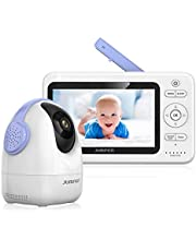 """JUMPER Babyphone Wireless Video Baby Monitor 2.4GHz 720P PTZ Camera +5.0"""" HD LCD Monitor, Two Way Audio Invisible Night Vision Temperature Sensor 5 Lullabies"""
