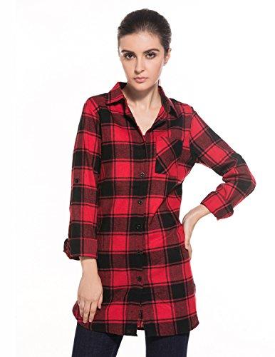 BYD Mujeres Blusas Cuadros Detrás de las Letras Camisa Camisetas Manga Larga Largo Tops T shirt Túnica Rojo