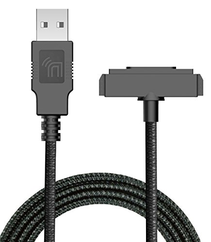 Sonim XP5/XP6/XP7 Charger, Nakedcellphone Brand Black [Rugged Braided] USB Charge/Sync Cable Cord [with Magnetic Contacts] for Sonim XP5700/XP6700/XP7700 Phones from Nakedcellphone