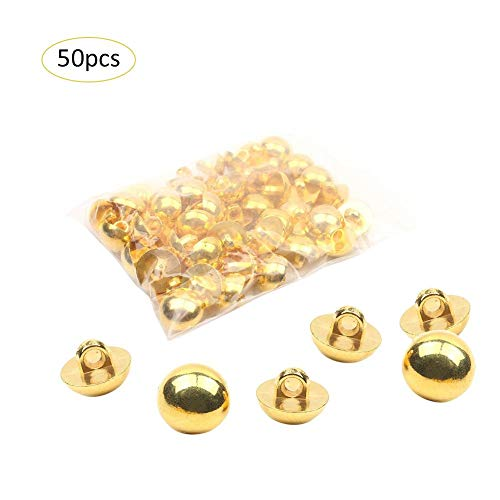 Younar 50 PCS Full Dome Metal Buttons with Polished Gold Finish for Most Applications from Costume to Dress wear