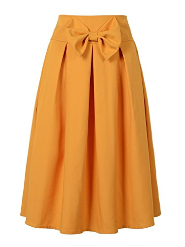 CHARLES RICHARDS CR Women's Yellow Casual Pleat Bowknot Front Midi Skirt,Small