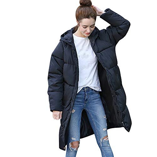 JESPER Women Winter Warm Knee Length Down Coat Hooded Thick Jacket Long Overcoat Black (Hooded Womens Overcoat)