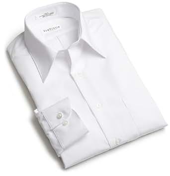 Van Heusen Men's Tall Long Sleeve Wrinkle Free Poplin Solid Shirt, White, 17 - 35/36