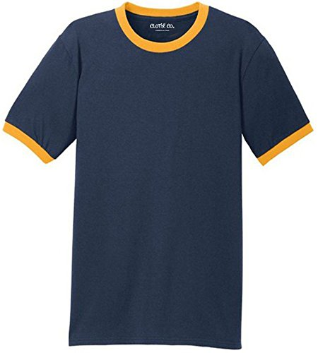(Clothe Co.. Men's Cotton Ringer Short Sleeve T-Shirt, Navy/Gold, 2XL)