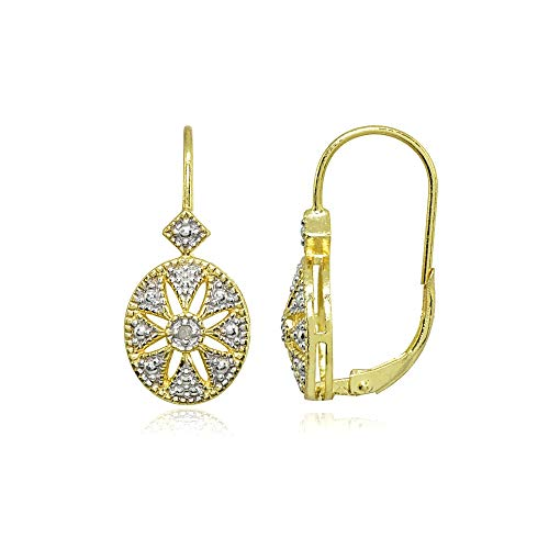 - Gold Flash Sterling Silver Diamond Accent Filigree Starburst Oval Leverback Drop Earrings
