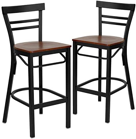 Flash Furniture 2 Pk. HERCULES Series Black Two-Slat Ladder Back Metal Restaurant Barstool – Cherry Wood Seat