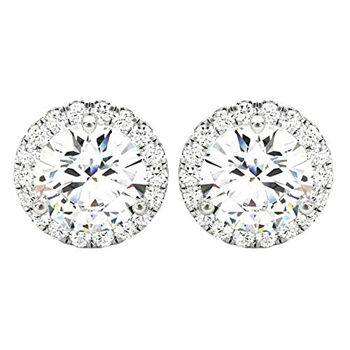 2 Carat (ctw) Round Halo Diamond Earrings Value Collection 14K White Gold - 2.00