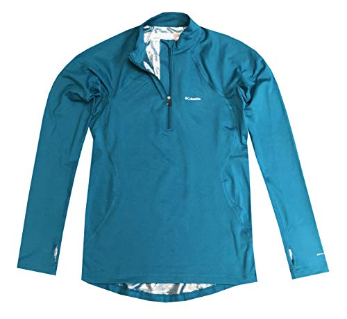 Columbia Womens Omni-Heat Midweight Baselayer Long Sleeve Shirt Blouse (XS, Teal)