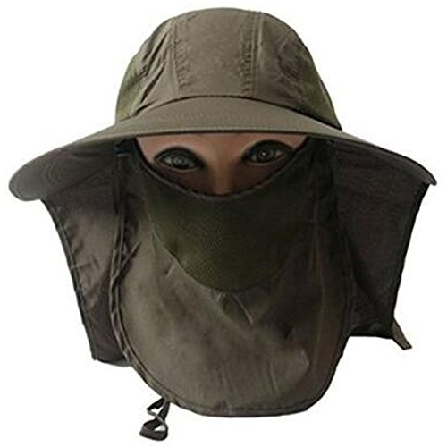 Lanzom Women Outdoor Wide Brim Sun Hat Cycling Fishing Cap With Removable Sun Shield Mask (Army (Shield Cap)