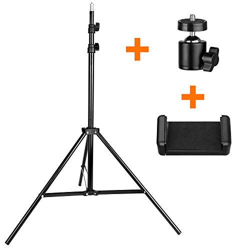 74in/6Feet/190cm Photography Light Stand, pangshi Aluminum Video Light Stand + Ball Head + Phone Clamp for HTC Vive VR, YouTube, Relfectors, Softboxes, Lights, Umbrellas, Backgrounds by pangshi