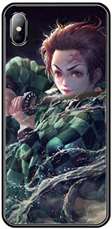 鬼滅の刃iPhone用ケース,キメツノヤイバ竈門炭治郎アイフォンケースかっこいい強化ガラス保護カバーiphone7 8 X 11 11Pro 用