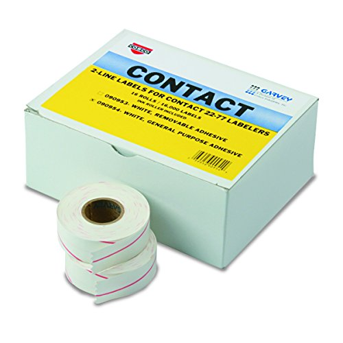 Garvey 090954 Two-Line Pricemarker Labels, 5/8 x 13/16, White, 1000 per Roll (Box of 16 Rolls) Photo #1