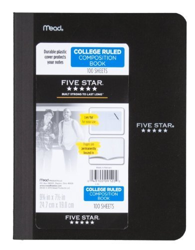 Five Star Composition Book, College Ruled, 1 Subject, 7.5 x 9.75 Inches, 100 Sheets, Corner Tabs, Assorted Colors, Pack Of 2 (09120)