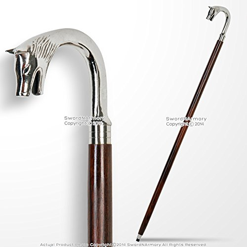 Medieval Gears Brand 35.5 Handmade Sheesham Wood Gentleman Walking Cane with Wolf Solid Brass Handle