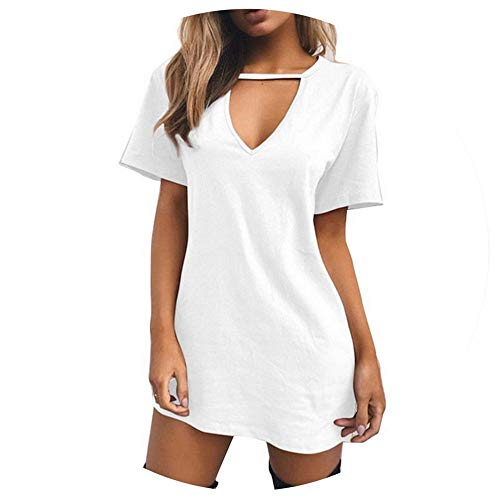 (Funnyy V Neck Cotton Summer Dresses Female Solid Casual Loose Dress Women A-Line Mini Vestidos 3XL,White,XXXL)