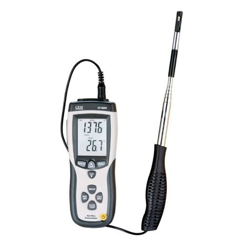 CEM CMM/CFM DT-8880 Hot Wire Anemometer Air Flow Velocity Meter with USB ()